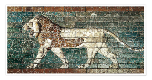 Premiumposter Lion mosaic at the temple of Babylon