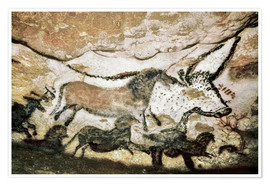 Premiumposter Cave paintings in the cave of Lascaux