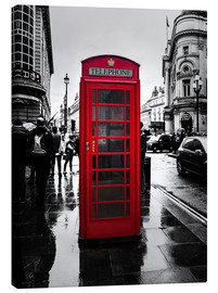 Canvastavla  Red telephone booth in London - Edith Albuschat
