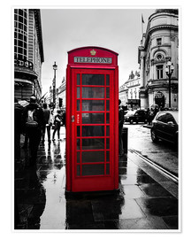 Premiumposter  Red telephone booth in London - Edith Albuschat
