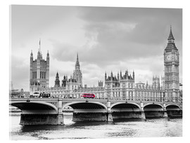 Akrylglastavla  Westminster bridge with look at Big Ben and House of parliament - Edith Albuschat
