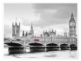 Premiumposter  Westminster bridge with look at Big Ben and House of parliament - Edith Albuschat