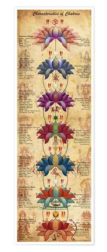 Poster Characterstics of Chakras Yoga Poster