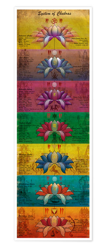 Poster System of Chakras Contrastive View Yoga Poster