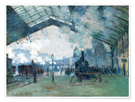 Premiumposter  Saint Lazare Train Station: the train from Normandy - Claude Monet