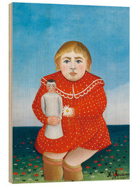 Trätavla  The girl with a doll - Henri Rousseau