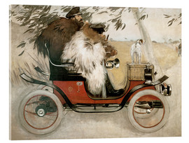 Akrylglastavla  Casas and Romeu in an automobile - Ramon Casas i Carbo