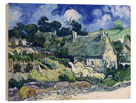 Trätavla  Thatched cottages at Cordeville - Vincent van Gogh