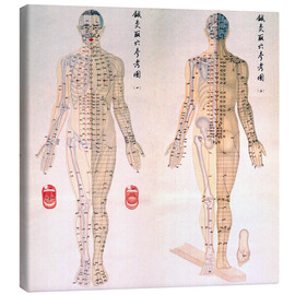 Canvastavla  Chinese chart of acupuncture points on a male body