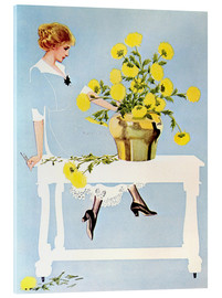 Akrylglastavla  Housekeeper with bouquet - Clarence Coles Phillips