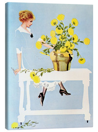 Canvastavla  Housekeeper with bouquet - Clarence Coles Phillips
