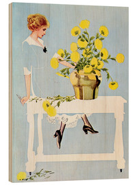 Trätavla  Housekeeper with bouquet - Clarence Coles Phillips