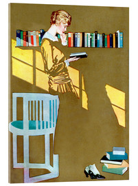 Akrylglastavla  Reading in front of the bookshelf - Clarence Coles Phillips
