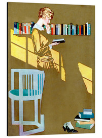 Aluminiumtavla  Reading in front of the bookshelf - Clarence Coles Phillips