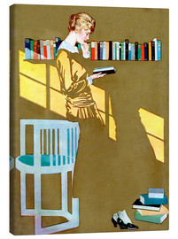 Canvastavla  Reading in front of the bookshelf - Clarence Coles Phillips