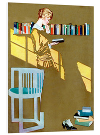 PVC-tavla  Reading in front of the bookshelf - Clarence Coles Phillips