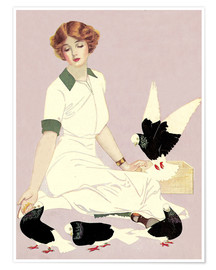 Premiumposter  Woman with Pigeons - Clarence Coles Phillips