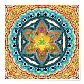 Premiumposter Merkaba, Flower of Life, Sacred Geometry, Chakras