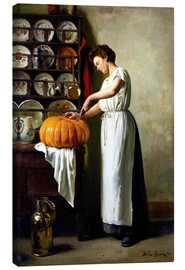 Canvastavla  Carving the pumpkin - Franck Antoine Bail