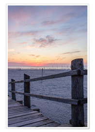 Premiumposter  Jetty into the sea from St Peter Ording - Dennis Stracke
