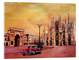 Akrylglastavla  Milan Cathedral with Oldtimer Convertible Alfa Romeo - M. Bleichner