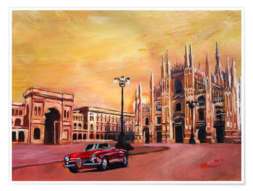 Premiumposter Milan Cathedral with Oldtimer Convertible Alfa Romeo