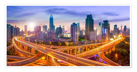 Premiumposter  Shanghai skyline and traffic at night - Jan Christopher Becke