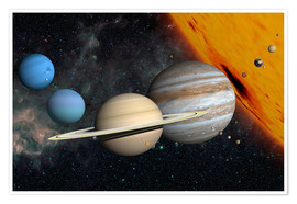 Premiumposter Planets and moons