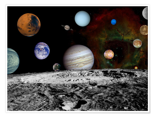 Premiumposter Montage of the planets