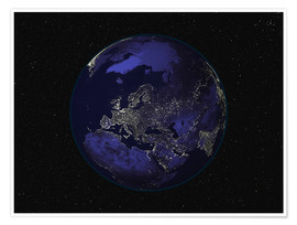 Premiumposter Earth at night - Europe