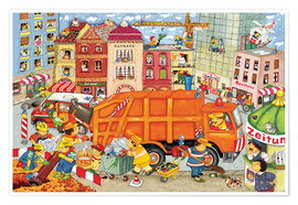 Premiumposter The garbage truck comes