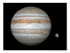 Premiumposter gas giant Jupiter and Earth