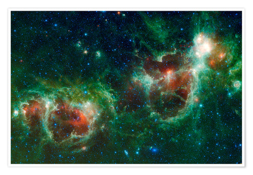 Premiumposter Infrared mosaic of the Heart and Soul nebula