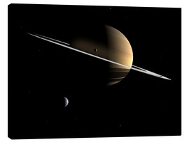 Canvastavla  Saturn and its moons Dione and Tethys - Walter Myers