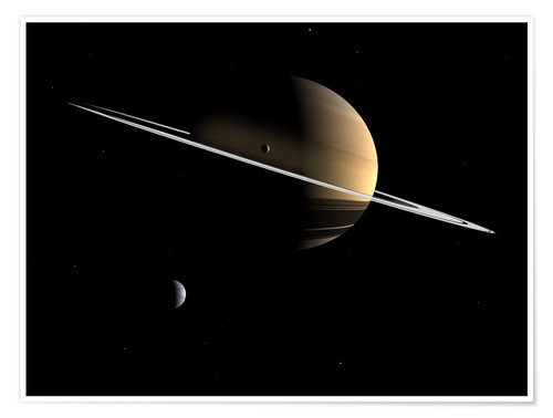 Premiumposter Saturn and its moons Dione and Tethys