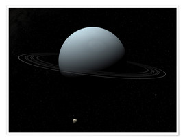 Premiumposter Uranus and its tiny moon Puck