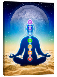 Canvastavla  In Meditation With Chakras - Blue Moon Edition - Dirk Czarnota