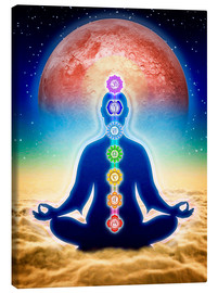 Canvastavla  In meditation with chakras - red moon edition - Dirk Czarnota