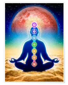 Premiumposter  In meditation with chakras - red moon edition - Dirk Czarnota