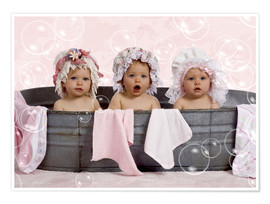 Premiumposter  Toddlers in flowery bonnets - Eva Freyss
