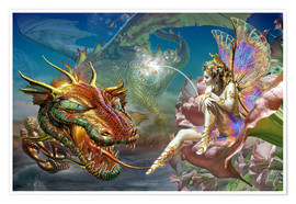 Premiumposter The dragon and the fairy