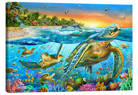 Canvastavla  Underwater turtles - Adrian Chesterman