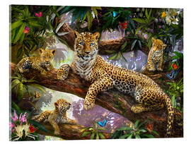Akrylglastavla  Tree Top Leopard Family - Jan Patrik Krasny