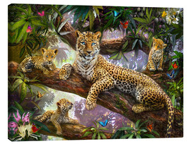 Canvastavla  Tree Top Leopard Family - Jan Patrik Krasny