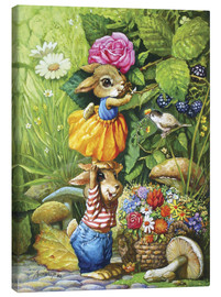 Canvastavla  Rabbits picking flowers - Petar Meseldzija