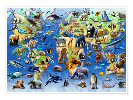 Premiumposter  One Hundred Endangered Species - Adrian Chesterman