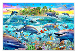 Premiumposter  Dolphin Reef - Adrian Chesterman