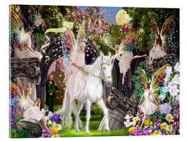 Akrylglastavla  Fairy Queen with unicorn - Garry Walton