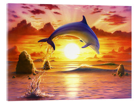 Akrylglastavla  Day of the dolphin - sunset - Robin Koni