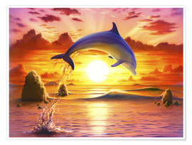 Premiumposter  Day of the dolphin - sunset - Robin Koni